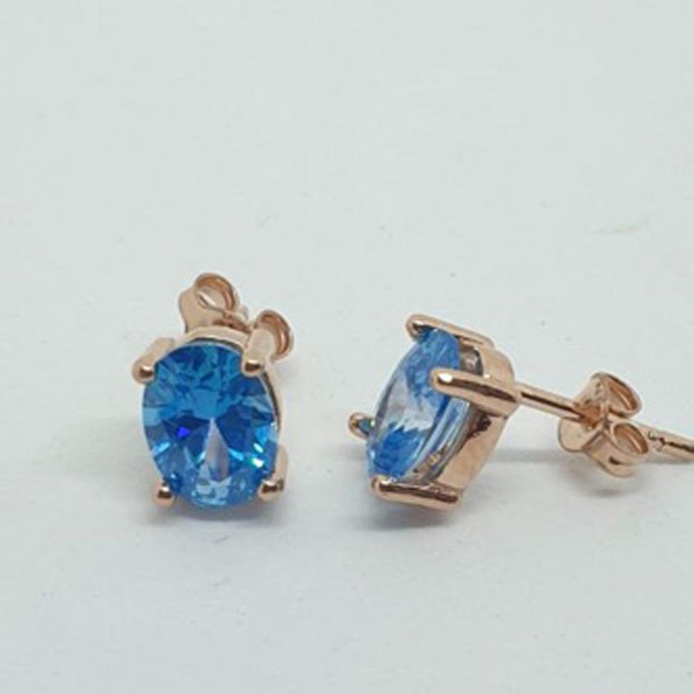 Ασημένια Ροζ Gold Σκουλαρίκια με Γαλάζιες Πέτρες κωδ.100391