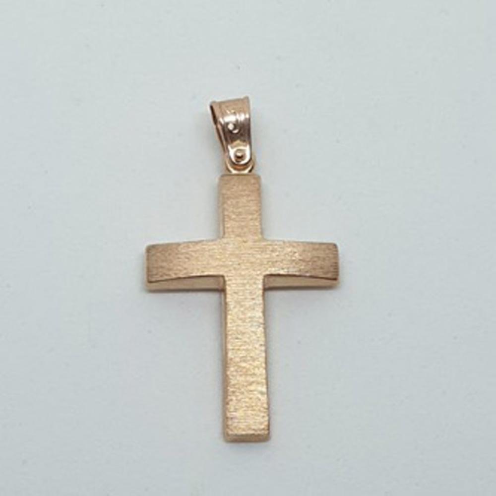 Ματ σταυρός ροζ gold k14 κωδ.100401
