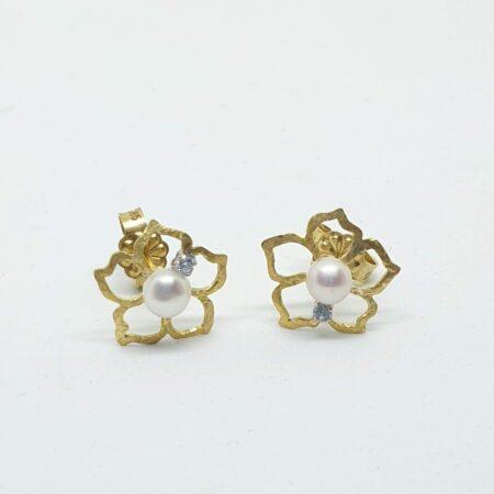 Χρυσά Σκουλαρίκια  Καρφωτά Κ14 με Λουλούδια με Μαργαριτάρια και Ζιργκόν κωδ.100479