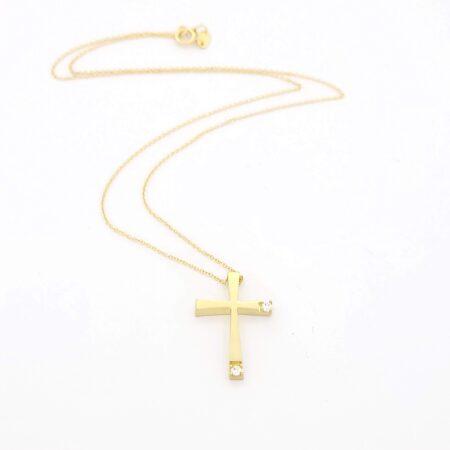 Χρυσός Γυναικείος Σταυρός με Ζιργκόν Κ14, με Αλυσίδα κωδ.101049