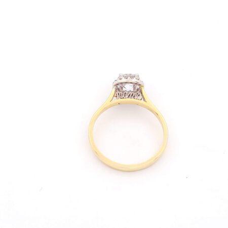 Χρυσό Γυναικείο Δαχτυλίδι Mama MetronGold Κ14 Δίχρωμο Μονόπετρο με Ζιργκόν κωδ.100020